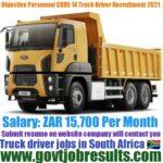 Objective Personnel Code 14 Truck Driver Recruitment 2021-22
