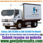 Indgro Multi Service Group CODE 10 to 14 Truck Driver Recruitment 2021-22