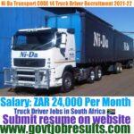 Ni da Transport CODE 14 Truck Driver Recruitment 2021-22