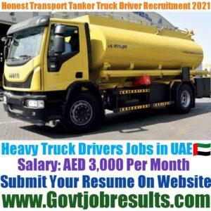Honest Transport Heavy Tanker Driver Recruitment 2021-22